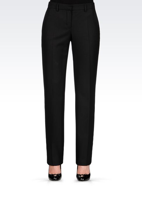 REGULAR FIT TROUSERS IN TECHNICAL VISCOSE: Low-rise pants Women by Armani - 3