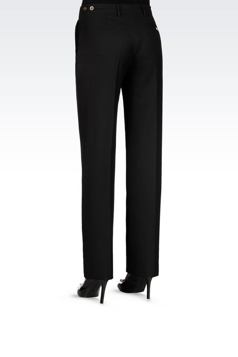 REGULAR FIT TROUSERS IN TECHNICAL VISCOSE: Low-rise pants Women by Armani - 4