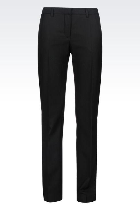 REGULAR FIT TROUSERS IN TECHNICAL VISCOSE: Low-rise pants Women by Armani - 1