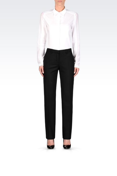 REGULAR FIT TROUSERS IN TECHNICAL VISCOSE: Low-rise pants Women by Armani - 2