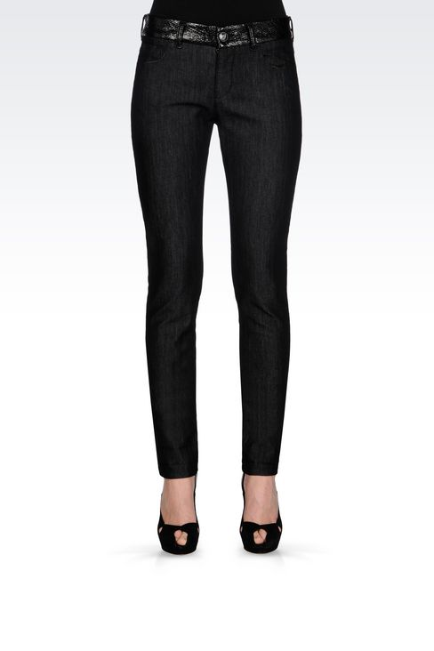 SUPER SKINNY DARK WASH JEANS: Jeans Women by Armani - 3