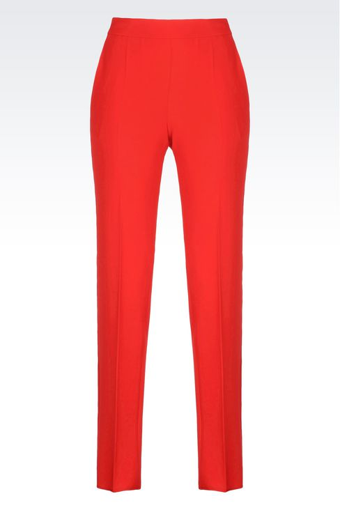 CIGARETTE TROUSERS IN CADY: Straight leg pants Women by Armani - 1