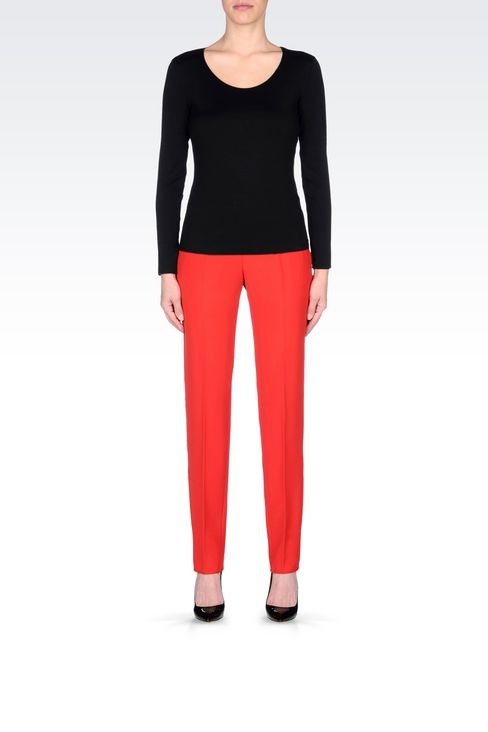 CIGARETTE TROUSERS IN CADY: Straight leg pants Women by Armani - 2