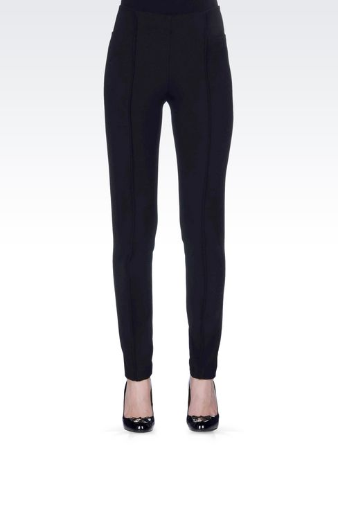 SKINNY FIT TROUSERS IN STRETCH VISCOSE: Straight leg pants Women by Armani - 3