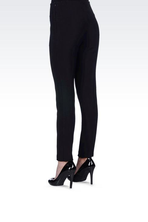 SKINNY FIT TROUSERS IN STRETCH VISCOSE: Straight leg pants Women by Armani - 4