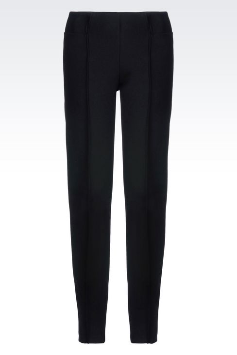 SKINNY FIT TROUSERS IN STRETCH VISCOSE: Straight leg pants Women by Armani - 1