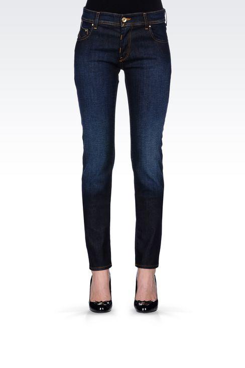 SLIM FIT DARK WASH JEANS: Jeans Women by Armani - 3
