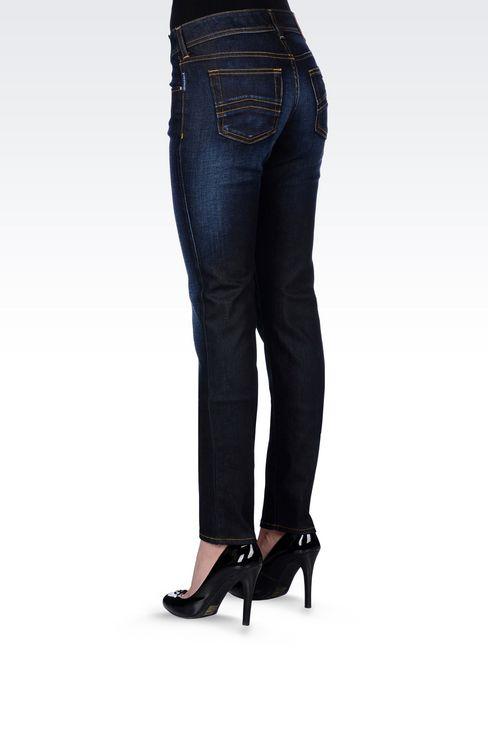 SLIM FIT DARK WASH JEANS: Jeans Women by Armani - 4