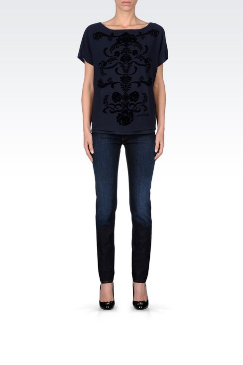 SLIM FIT DARK WASH JEANS: Jeans Women by Armani - 2