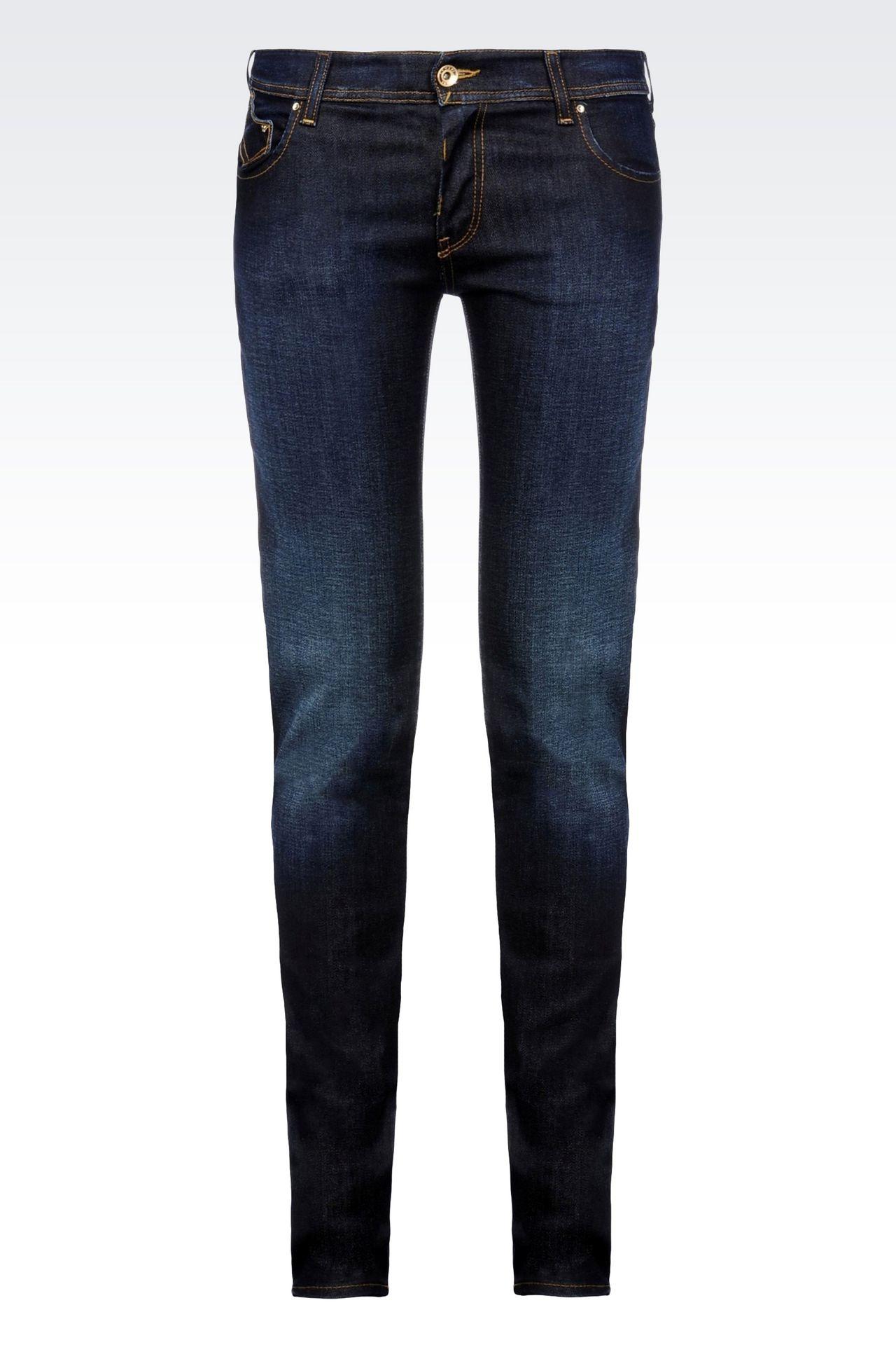 SLIM FIT DARK WASH JEANS: Jeans Women by Armani - 0