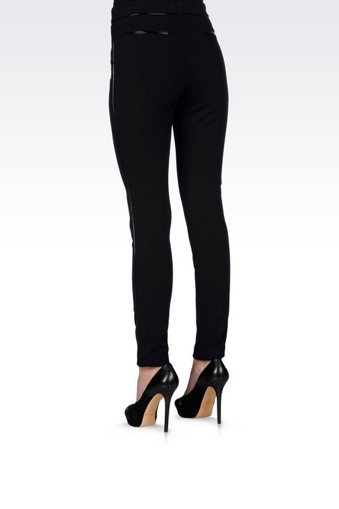 TROUSERS IN MILANO RIB WITH PATENT PIPING: Straight leg trousers Women by Armani - 4