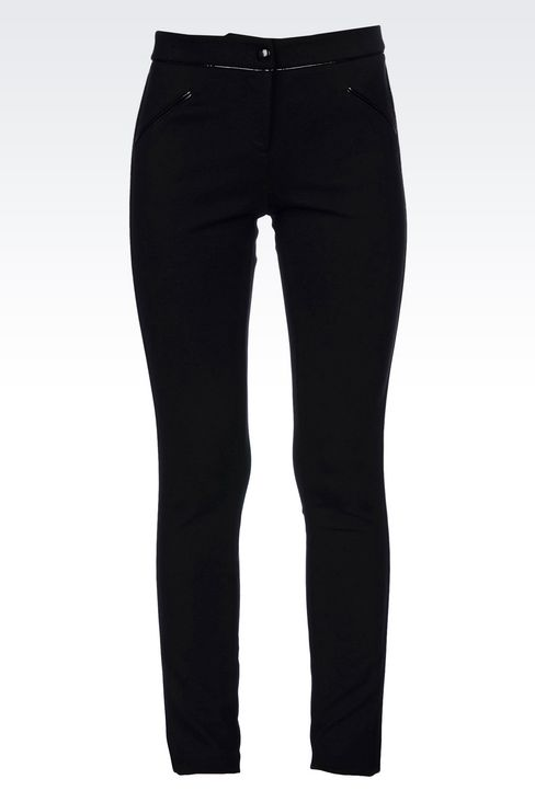 TROUSERS IN MILANO RIB WITH PATENT PIPING: Straight leg trousers Women by Armani - 1