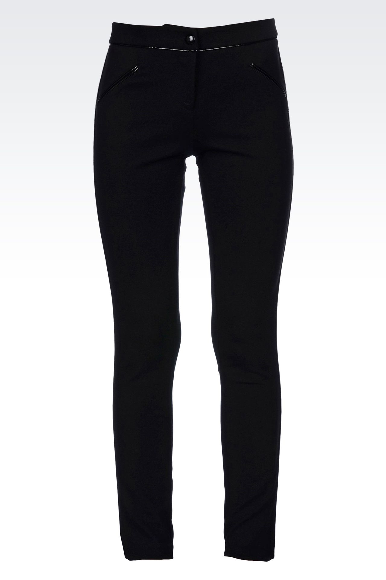 TROUSERS IN MILANO RIB WITH PATENT PIPING: Straight leg trousers Women by Armani - 0