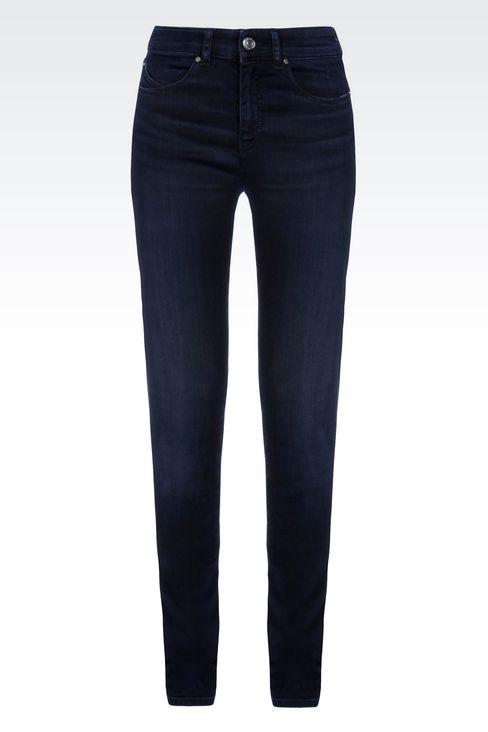 SLIM FIT HIGH-WAIST BLACK WASH JEANS: Jeans Women by Armani - 1