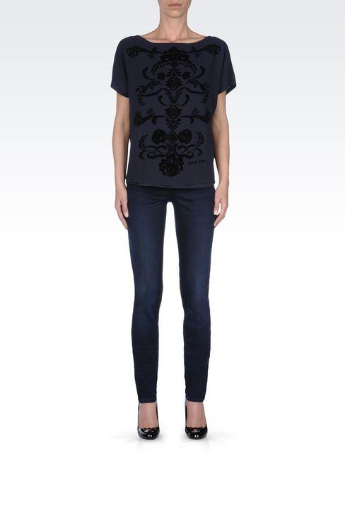 SLIM FIT HIGH-WAIST BLACK WASH JEANS: Jeans Women by Armani - 2