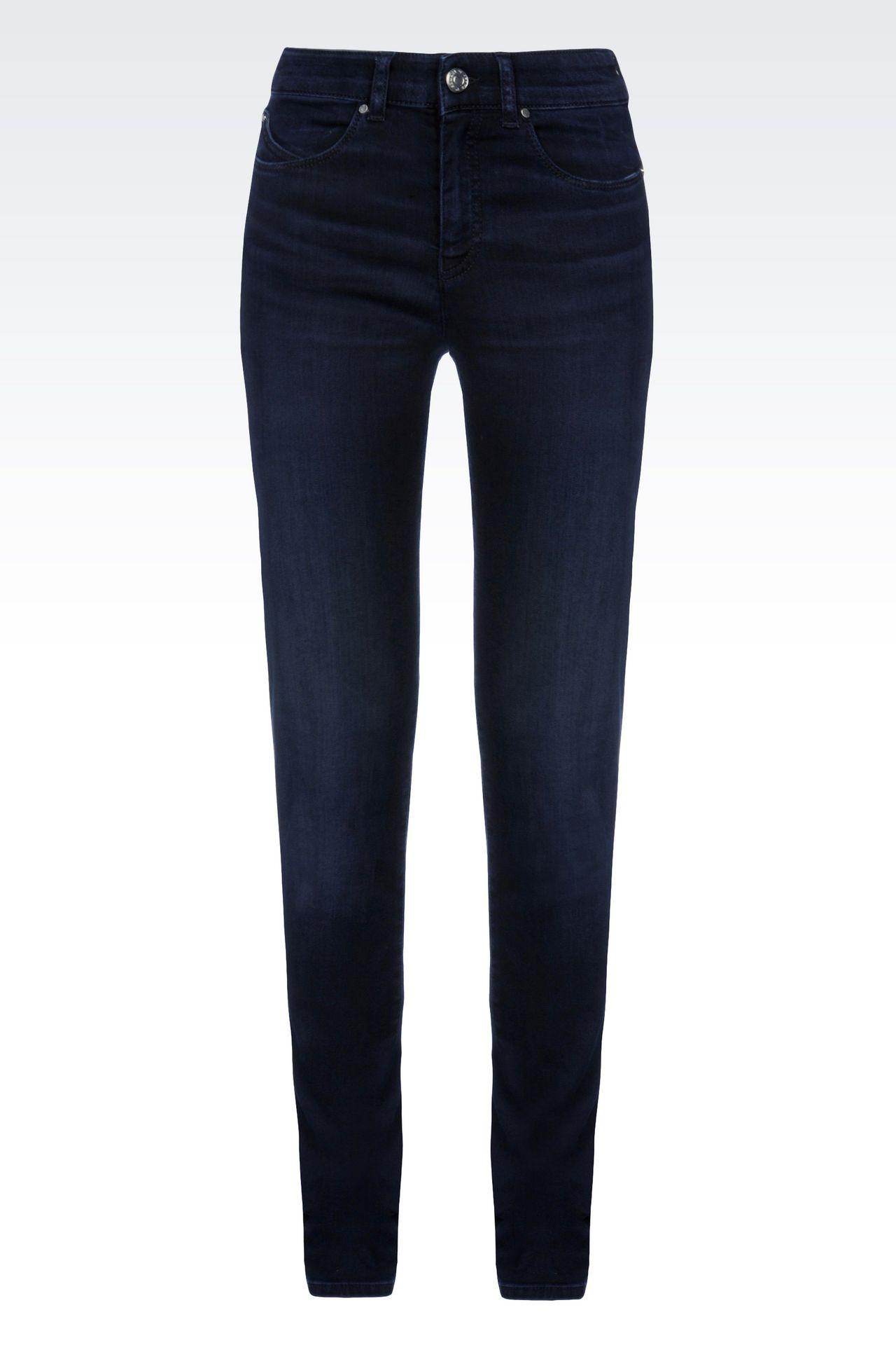 SLIM FIT HIGH-WAIST BLACK WASH JEANS: Jeans Women by Armani - 0
