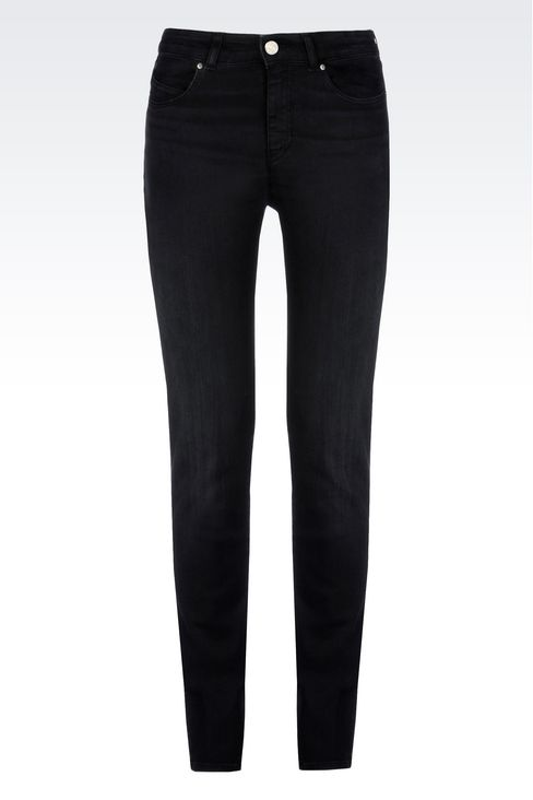 SLIM FIT HIGH-WAIST BLACK WASH JEANS: Jeans Women by Armani - 1