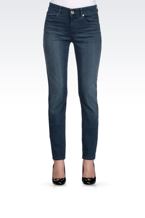 SLIM FIT HIGH-WAIST BLACK WASH JEANS: Jeans Women by Armani - 3
