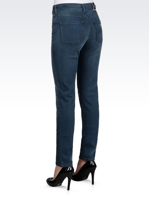 SLIM FIT HIGH-WAIST BLACK WASH JEANS: Jeans Women by Armani - 4
