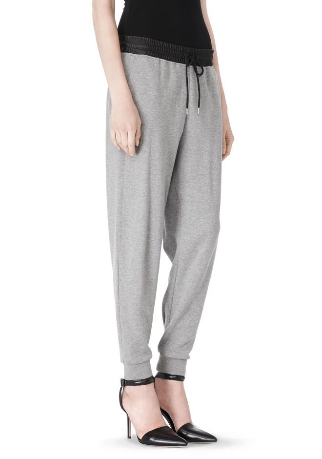 T by ALEXANDER WANG COTTON SWEATPANTS WITH LEATHER WAISTBAND PANTS Adult 12_n_e