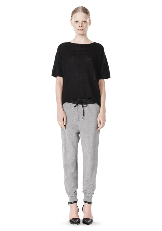 T by ALEXANDER WANG COTTON SWEATPANTS WITH LEATHER WAISTBAND