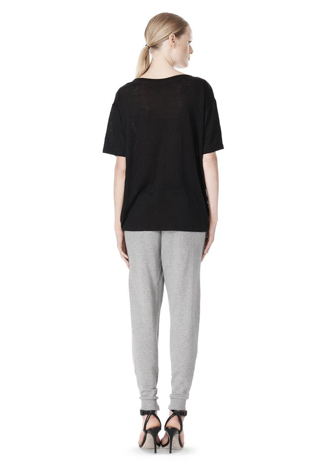 T by ALEXANDER WANG COTTON SWEATPANTS WITH LEATHER WAISTBAND PANTS Adult 12_n_r