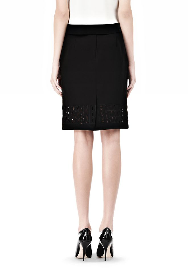 ALEXANDER WANG PENCIL SKIRT WITH LOGO EYELET EMBROIDERY SKIRT Adult 12_n_a