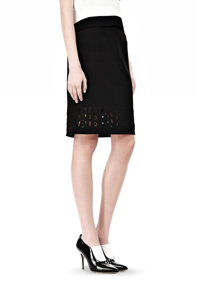 ALEXANDER WANG PENCIL SKIRT WITH LOGO EYELET EMBROIDERY SKIRT Adult 12_n_e
