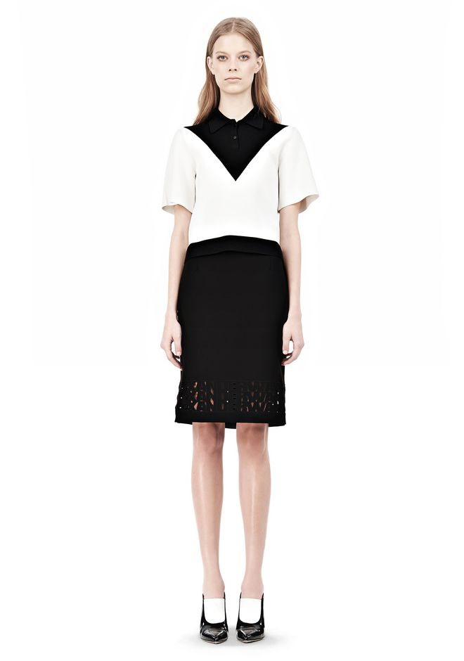 ALEXANDER WANG PENCIL SKIRT WITH LOGO EYELET EMBROIDERY