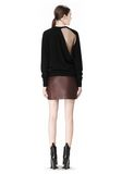 RAW EDGE LEATHER MINI SKIRT