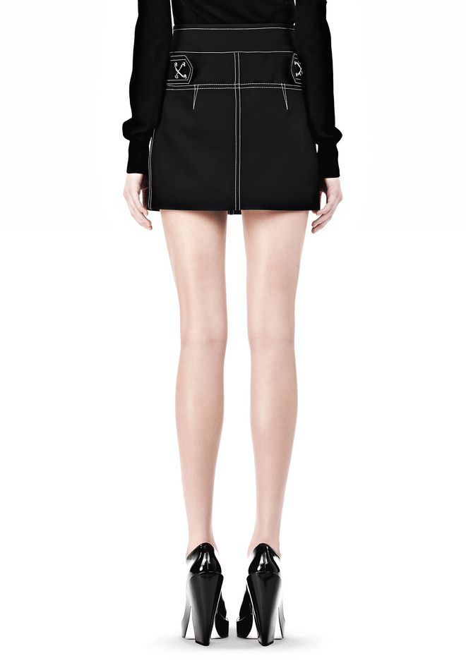 ALEXANDER WANG MINI SKIRT WITH CONTRAST STITCHING SKIRT Adult 12_n_a