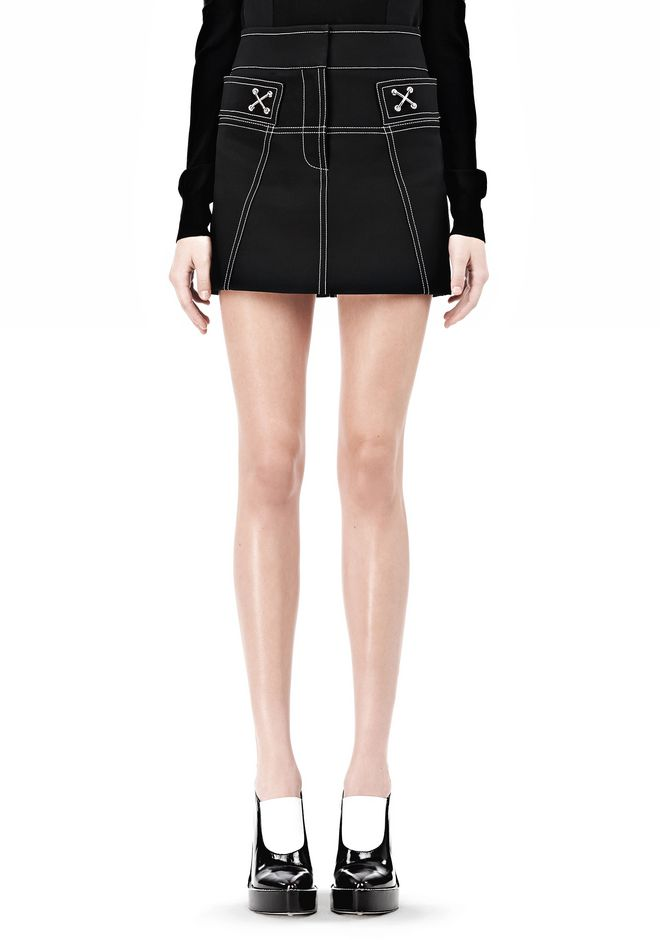 ALEXANDER WANG MINI SKIRT WITH CONTRAST STITCHING SKIRT Adult 12_n_d