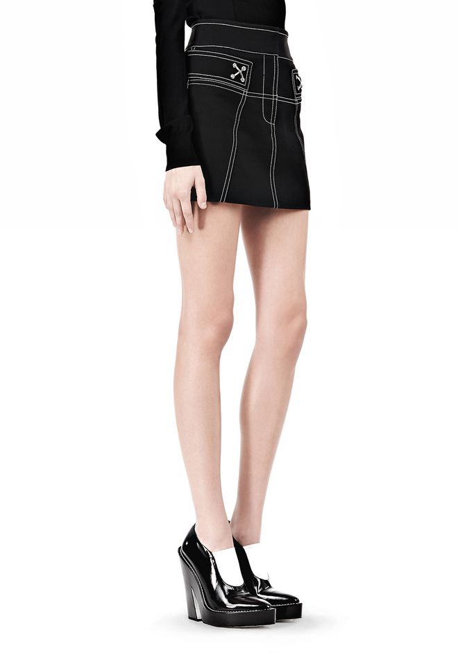 ALEXANDER WANG MINI SKIRT WITH CONTRAST STITCHING SKIRT Adult 12_n_e