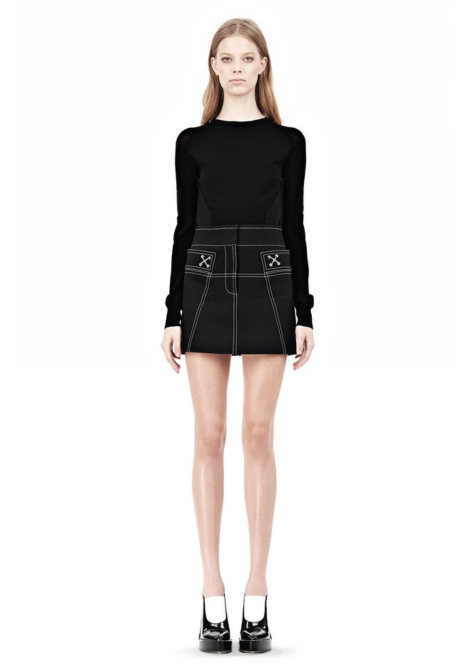 ALEXANDER WANG MINI SKIRT WITH CONTRAST STITCHING