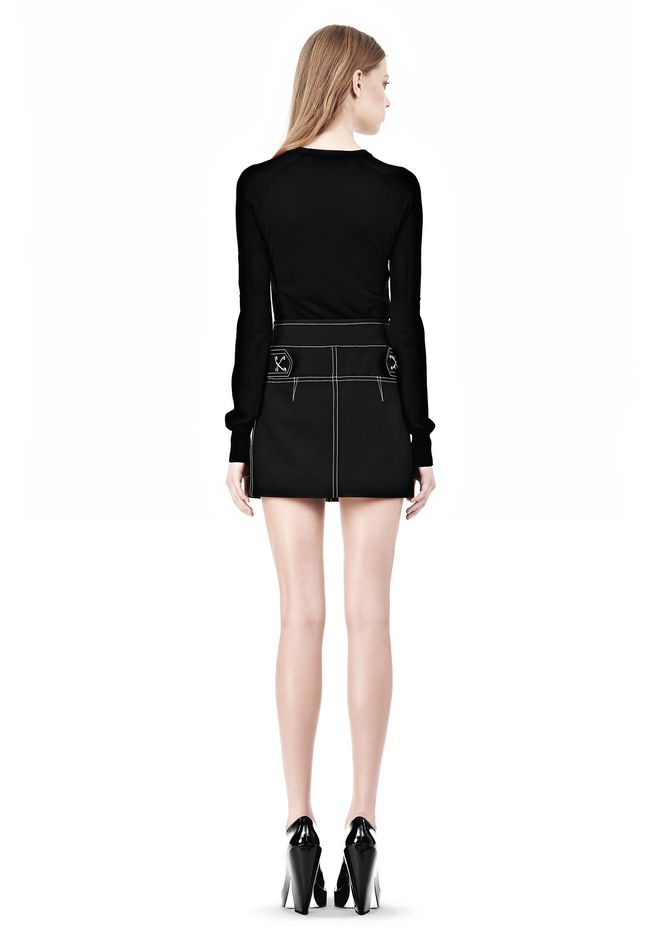 ALEXANDER WANG MINI SKIRT WITH CONTRAST STITCHING SKIRT Adult 12_n_r