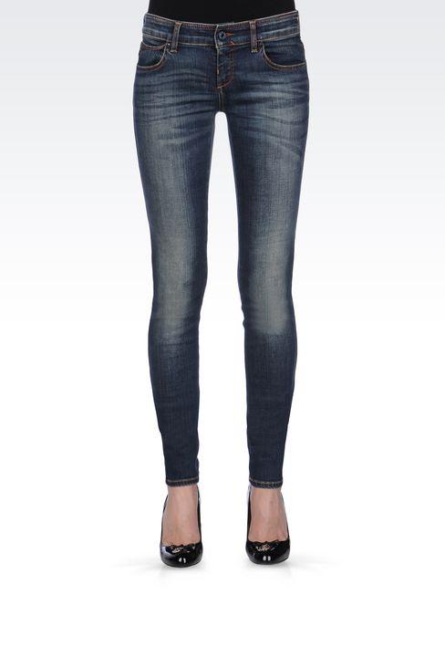 SUPER STRETCH VINTAGE MEDIUM DARK WASH JEANS: Jeans Women by Armani - 3