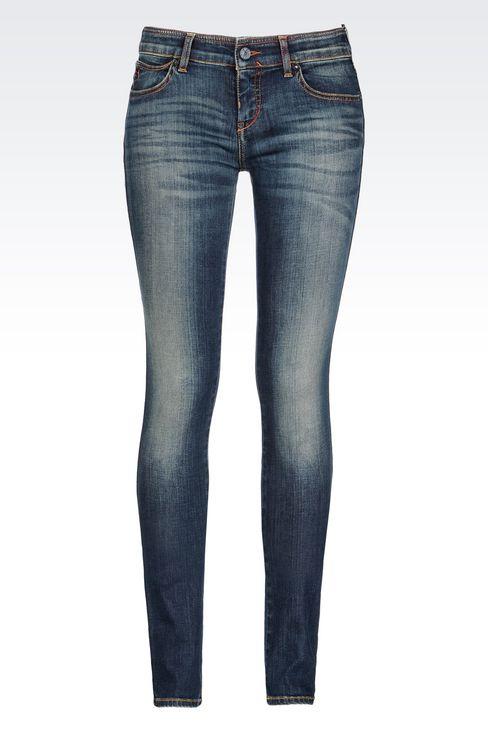 SUPER STRETCH VINTAGE MEDIUM DARK WASH JEANS: Jeans Women by Armani - 1