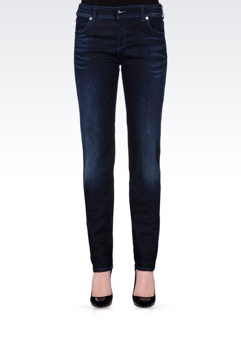 REGULAR FIT DARK WASH JEANS: Jeans Women by Armani - 3