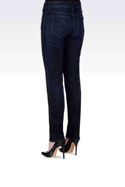 REGULAR FIT DARK WASH JEANS: Jeans Women by Armani - 4