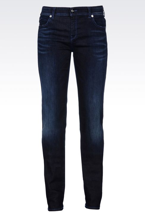 REGULAR FIT DARK WASH JEANS: Jeans Women by Armani - 1