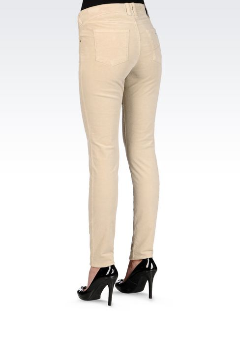 SKINNY JEANS IN SLUB VELVET: 5 pockets Women by Armani - 4