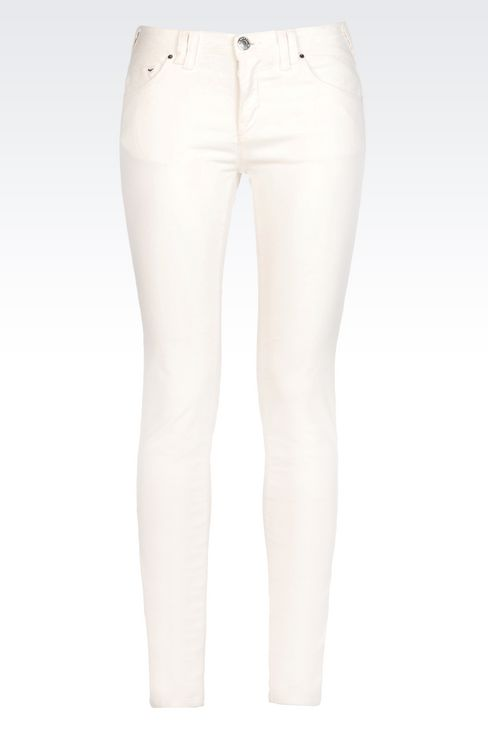 SKINNY JEANS IN SLUB VELVET: 5 pockets Women by Armani - 1
