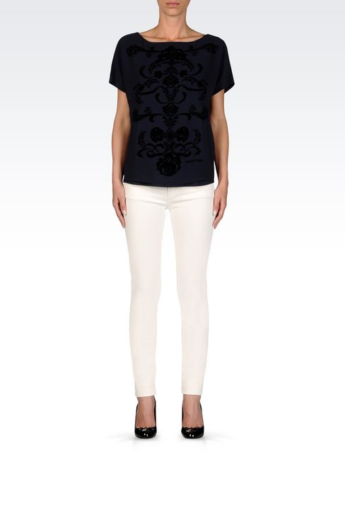 SKINNY JEANS IN SLUB VELVET: 5 pockets Women by Armani - 2
