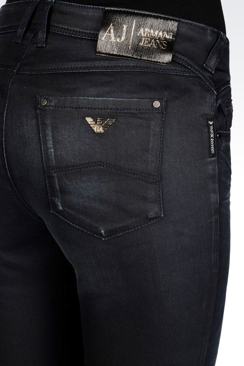 SKINNY LEATHER EFFECT JEANS: 5 pockets Women by Armani - 5