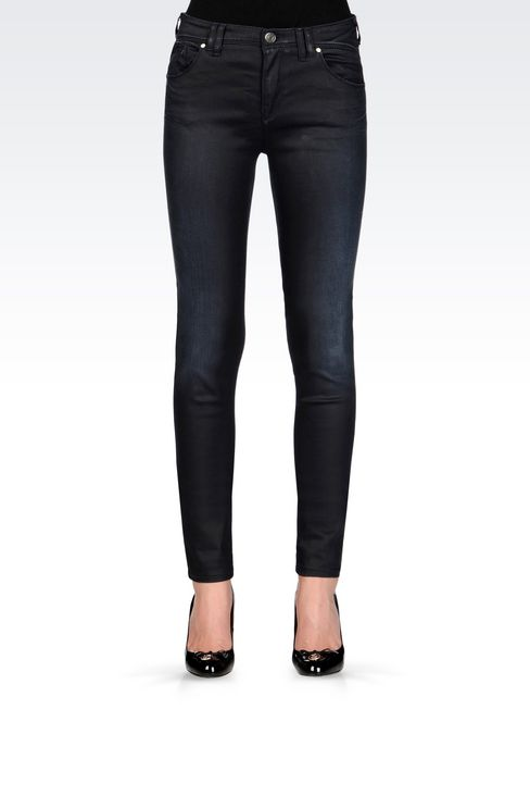 SKINNY LEATHER EFFECT JEANS: 5 pockets Women by Armani - 3