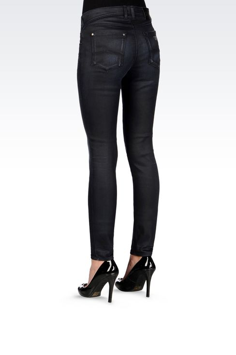 SKINNY LEATHER EFFECT JEANS: 5 pockets Women by Armani - 4