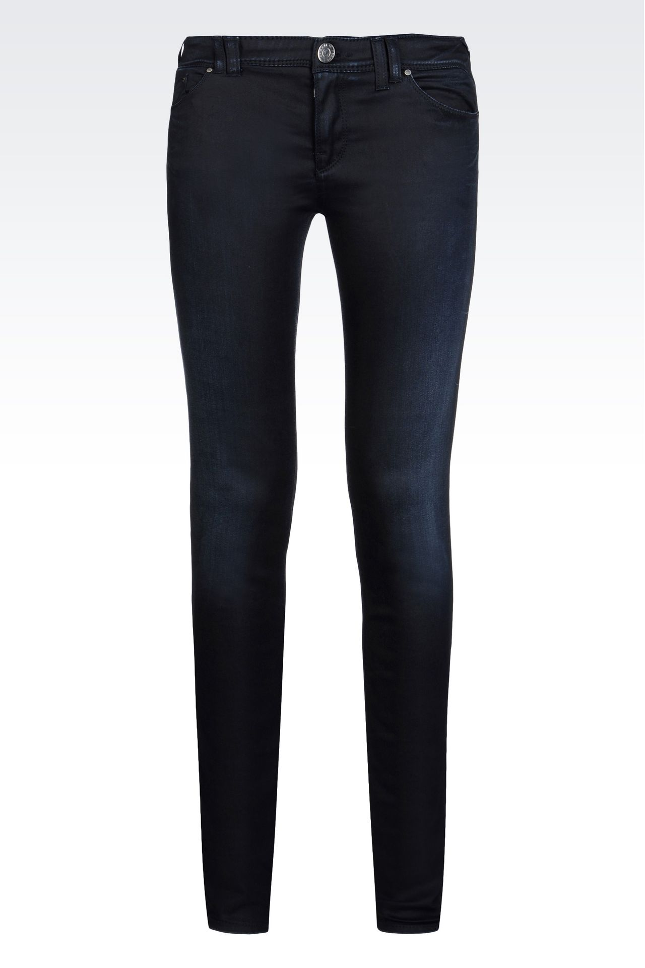 SKINNY LEATHER EFFECT JEANS: 5 pockets Women by Armani - 0