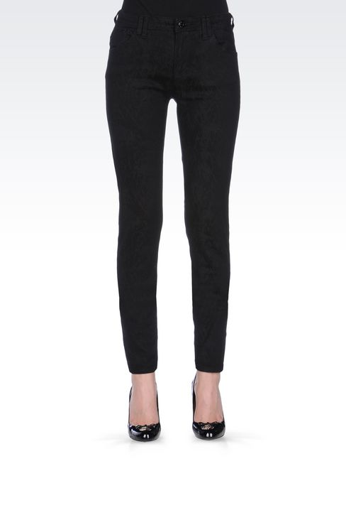 SKINNY JEANS IN CLEAN WASH JACQUARD DENIM: Jeans Women by Armani - 3