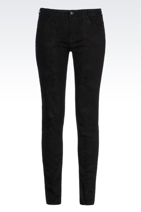 SKINNY JEANS IN CLEAN WASH JACQUARD DENIM: Jeans Women by Armani - 1