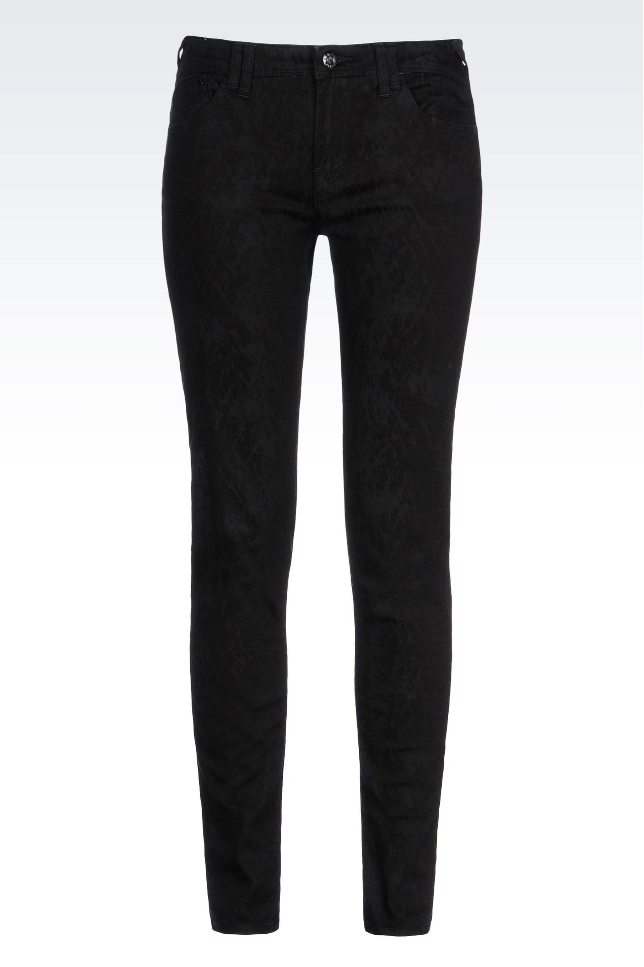 SKINNY JEANS IN CLEAN WASH JACQUARD DENIM: Jeans Women by Armani - 0